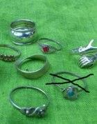 9 srebrnych pierścionków