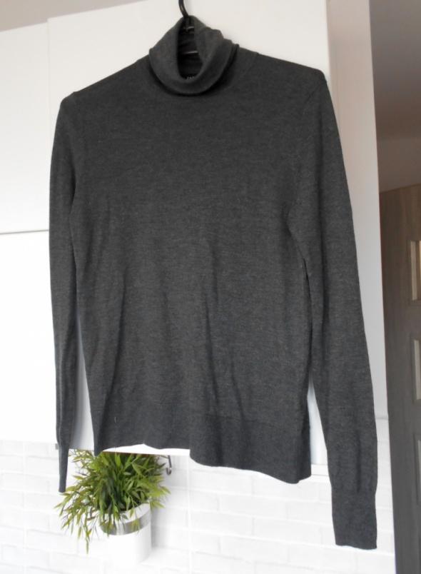 Zara nowy cienki sweter szary ciemny golf klasyka minimalizm...