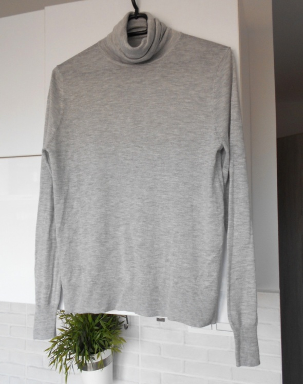 Zara nowy cienki sweter szary golf klasyka minimalizm...