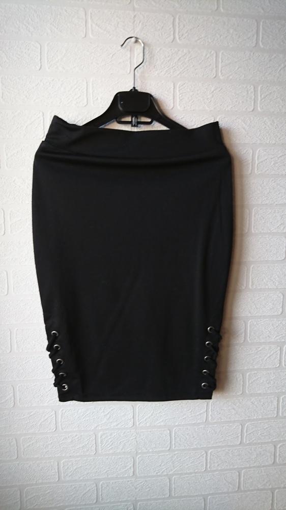 Spódnice Ołówkowa dopasowana spódnica ze sznurowaniem po bokach wysoki stan