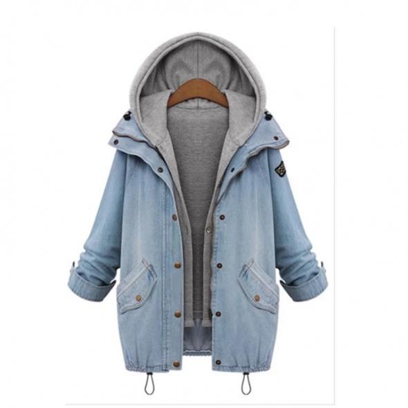 Ubrania Kurtka jeansowa z kapturem luźna rozmiar L