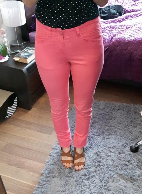 różowe spodnie rurki h&m 36