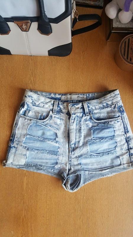 Jeansowe krotkie spodenki wysoki stan s 36