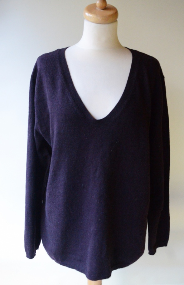 Sweter H&M Basic L 40 Fioletowy Oversize Fiolet...