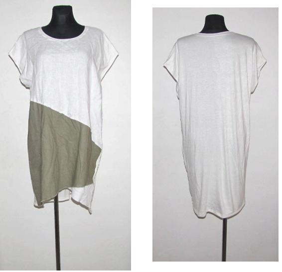 NOWA biała khaki lniana tunika oversize 42 44...