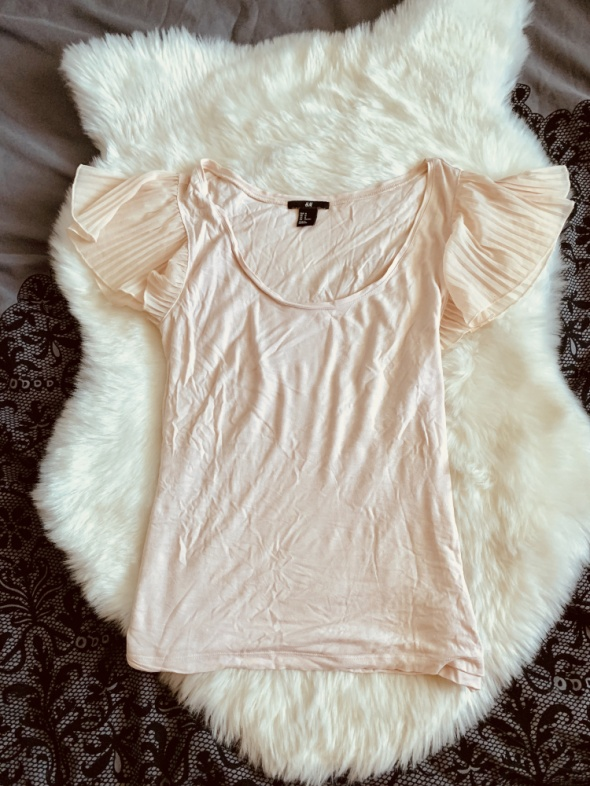 Bluzka H&M pudrowy roz plisy...