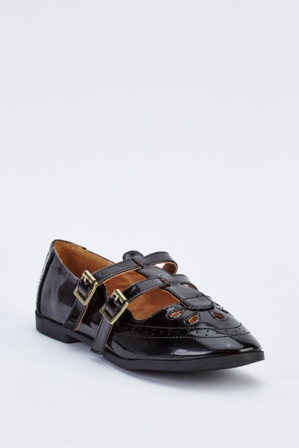 Nowe czarne płaskie buty 39 babydoll doll lalka retro vintage l...