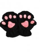 Rękawiczki zimowe czarne futerkowe kotek miś łapy kota misia zw...