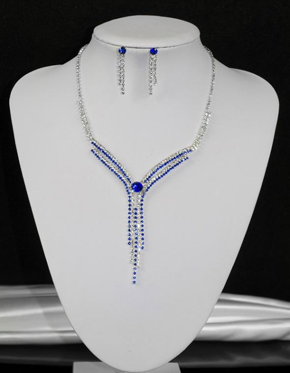 Komplet biżuterii okazjonalny naszyjnik i kolczyki nowy cyrkoni...