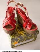 Czerwone koturny sandały wedges 38 39 letnie buty...