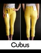 żółte spodnie Cubus xxs 32 jeansowe jeans rurki...