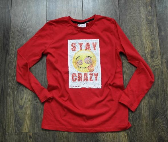 Bluzeczka czerwona w cekinowe emonki 146 152...