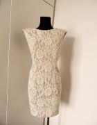 Beżowo biała sukienka koronka ażur...