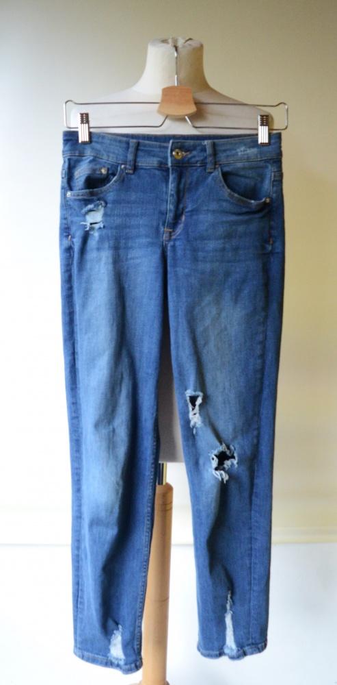 Spodnie Jeans H&M Dziury S 36 Rurki Przetarcia Divided Dzins...