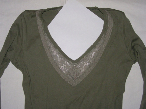 Bluzki Zielona bluzka ESPRIT z koronkową wstawką