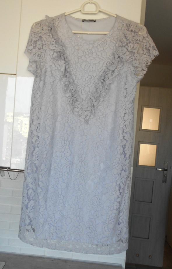 Zara nowa liliowa sukienka koronkowa falbanki...