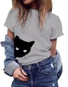 nowy szary siwy tshirt kot L z kotem...