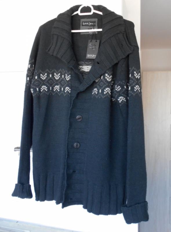 Solid jeans męski sweter kardigan ciepły norweski...