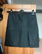 Gumowana czarna ekoskora wet look spódnica S 36...