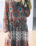 kolorowa tunika w azteckie wzory...