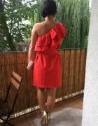 Sukienka czerwona na jedno ramie falbanka...