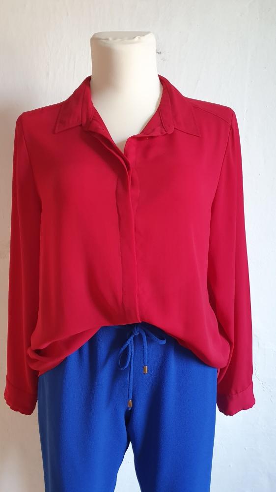 Koszule Czerwona lejąca koszula r 46