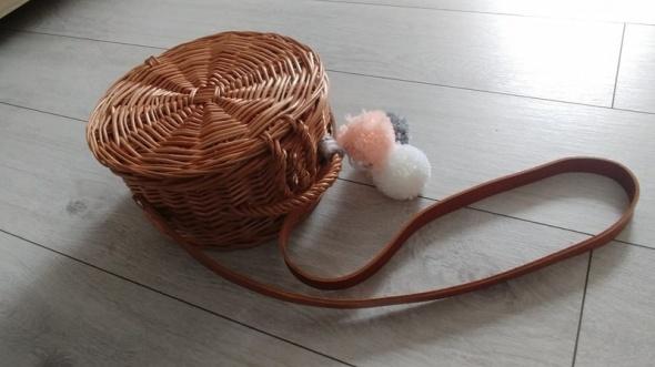 Cudo koszyk torba wicker bag wiklinowy podszewka pompony skórza...