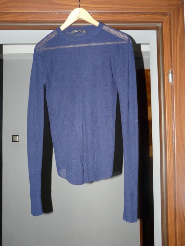 Sweter mgiełka ZARA granatowy M domieszka wełny...