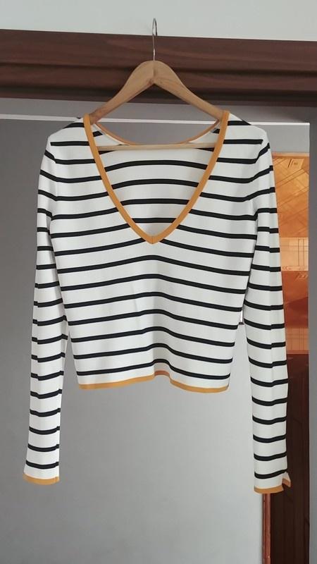Piękny sweter ZARA paski biały granat nowy z metką...