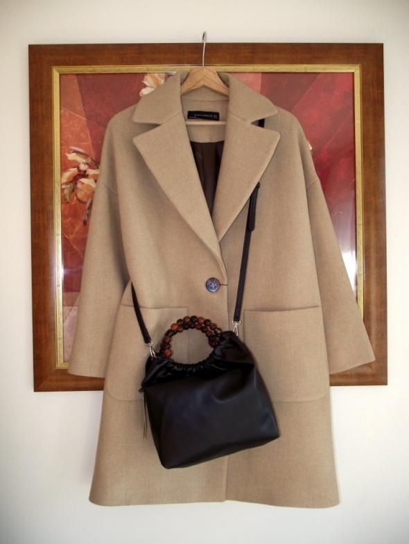 Nowa czarna torebka typu worek z uchwytami z koralików Zara