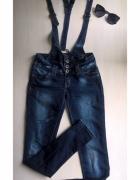 Spodnie jeansowe z szelkami ogrodniczki S M...