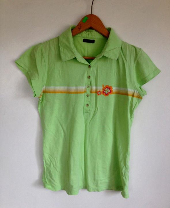 Koszulka polo seledynowa nadruk hawai zielona XS S