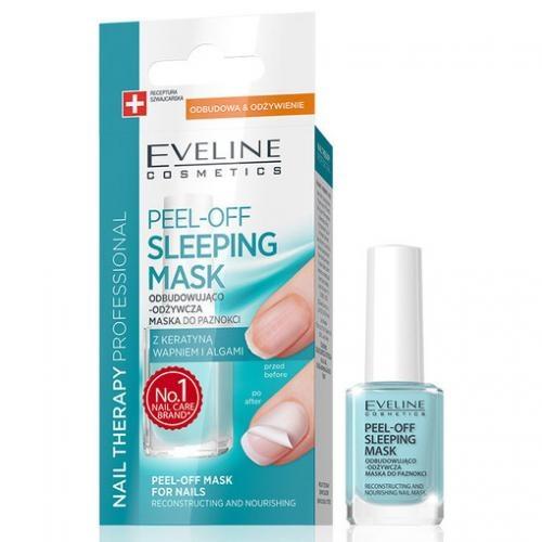 Eveline Peel Off Sleeping Mask Odbudowująco odżywcza maska do paznokci z keratyną wapnem i algami