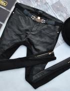 Reserved Czarne Spodnie Rurki Slim 2w1 Skóra Materiał Złote Zip...