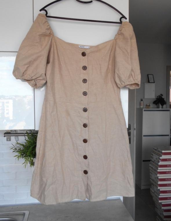 Cropp beżowa sukienka guziki letnia...