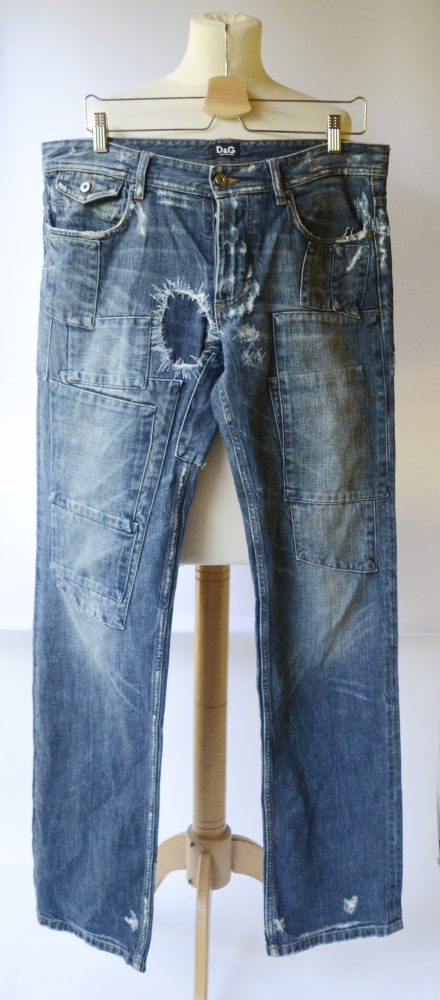 Spodnie Spodnie Męskie D&G Dolce&Gabbana Przetarcia 33 L 40 Dzinsowe Regular