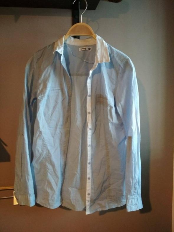 Koszule Koszula błękitna biały kołnierzyk elegancka i na codzień sinasy S