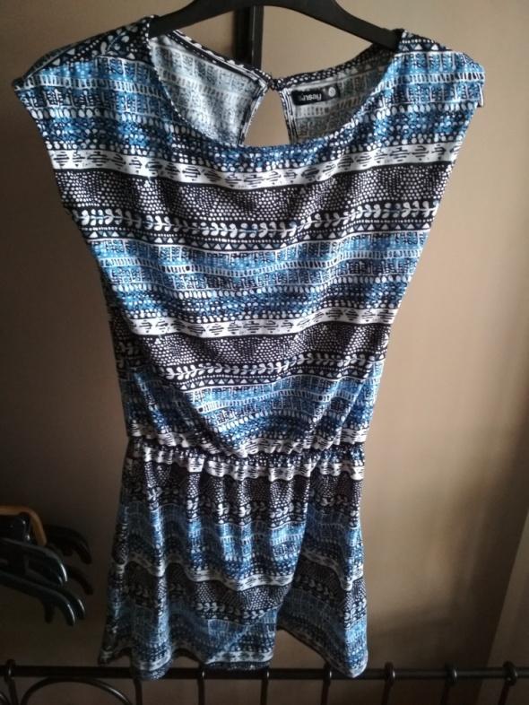 Sukienka aztec niebieska czarna biała XS sinsay mini