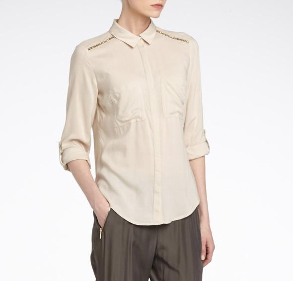 Reserved Beżowa Koszula z Koralikami OKAZJA