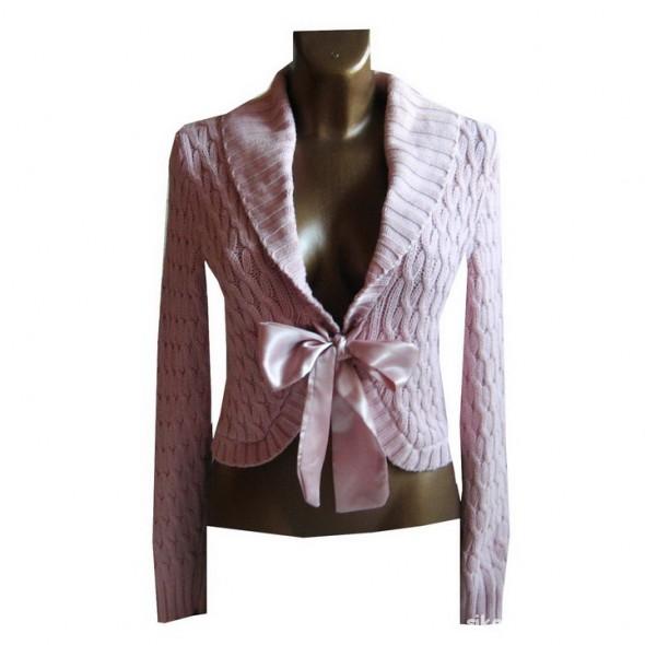 Swetry Ciepły Różowy Sweter Bolerko Kokarda L XL