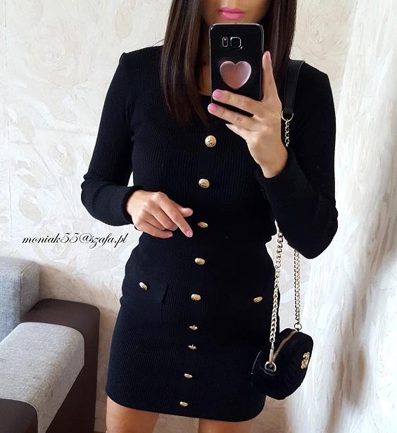 Sukienka ZŁOTE guziki mała czarna