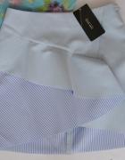 spódnica mini Zara XS paski falbanka...
