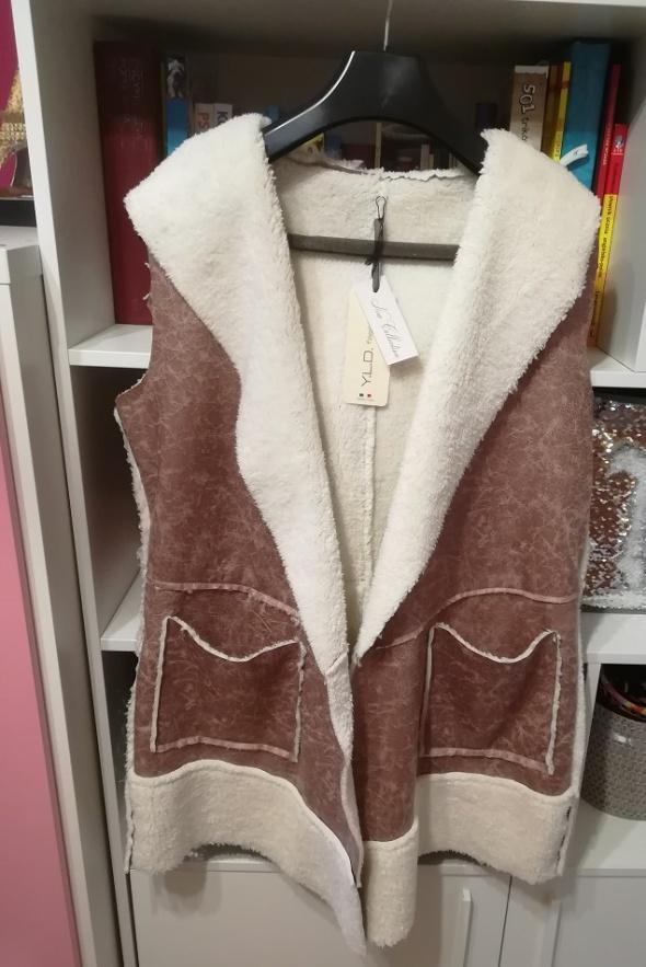 Nowa włoska kamizelka płaszczyk z kożuszkiem i kapturem