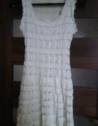 Sukienka ecru koronka lato weselna wyjściowa