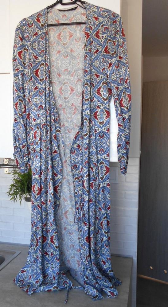 Zara nowa narzutka wzory sukienka kopertowa zakładana etno hipp...