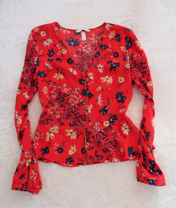 Czerwona bluzka koszula H&M z baskinką kwiaty