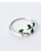 Nowy srebrny pierścionek gałązka liście zielone srebro 925...