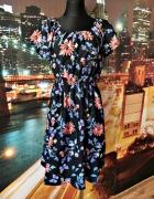new look sukienka modny wzór kwiaty motyle nowa 44...