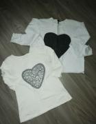 dwie bluzki białe z wielkim sercem...