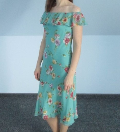 Jedwabna sukienka w kwiaty Ralph Lauren hiszpanka odkryte ramio...